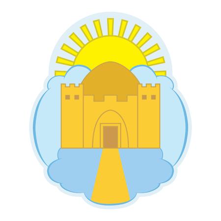 天の寺院を描いたロゴ。  イラスト・ベクター素材