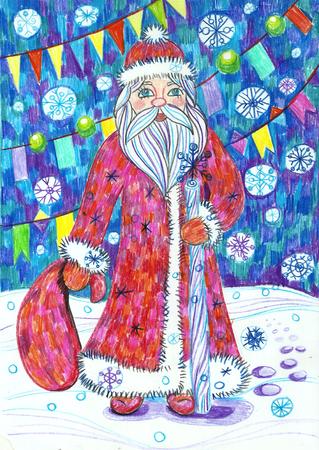 Children s New Year illustration. Santa Claus