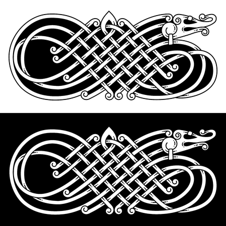 Pattern in the Celtic style with a dragon. Ilustração