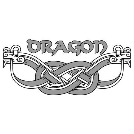 Patrones de nudos celtas con serpientes. Ilustración de vector