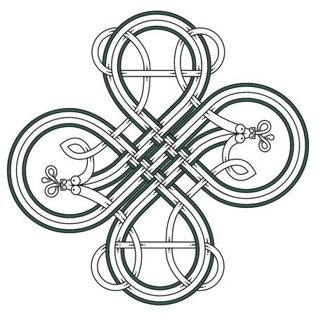 Celtic knot patterns with snakes. Ilustração