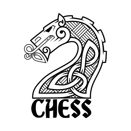 Logotype for the chess club. Shaggy horse abstract.