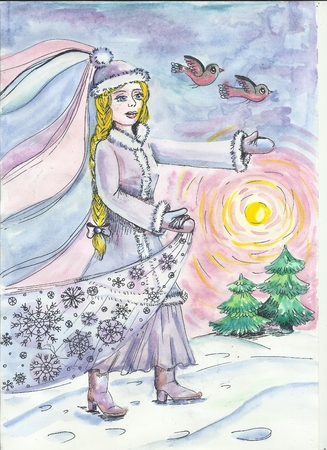 Children s New Year illustration. Snow Maiden