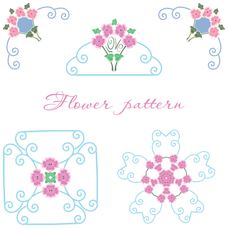 Vector beautiful floral ornament elements of different styles.