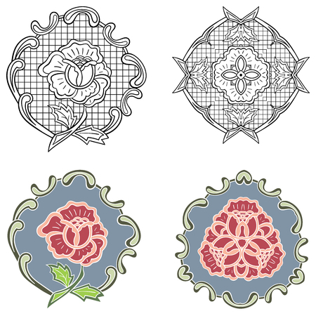 Vector beautiful floral ornament elements. Floral decorations