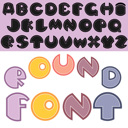 Vector English font. Font with round letters.