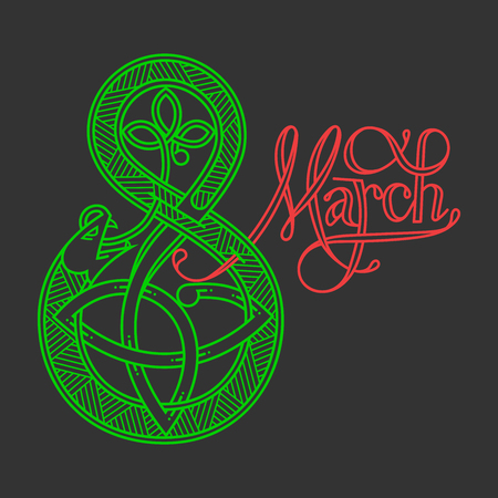 March 8 is women s day. Lettering in Celtic style. 矢量图像