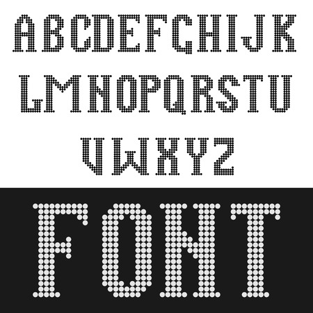 English vector font consisting of round pixels.