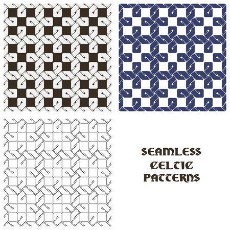 Beautiful pattern in Celtic style. Set of seamless patterns. 矢量图像