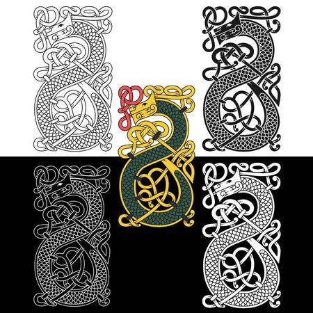 Monogram in the Celtic style with a dragon.