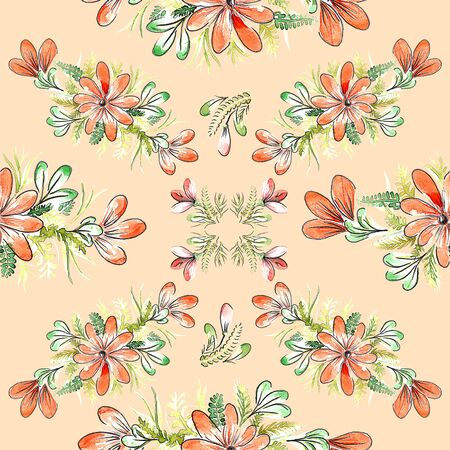 Beautiful seamless background with watercolor flowers. Flower background. 免版税图像