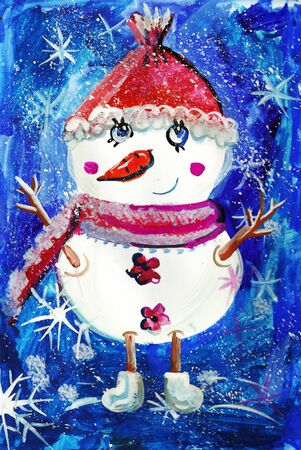 Cheerful snowman on a watercolor background. Children's illustration.Illustration for postcards or books.