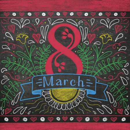 Greeting card for March 8. International Womens Day.