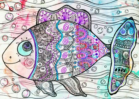 Children's drawing small fish. Fish on a watercolor background.