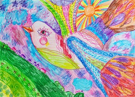 Bird drawn with colored pencils. Childrens drawing.