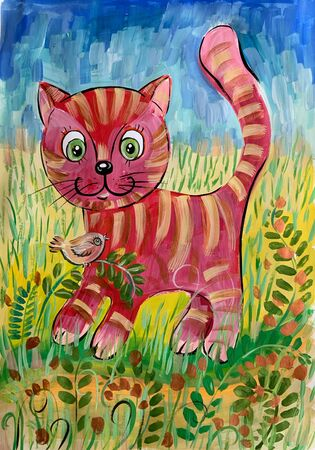 Childrens drawing painted by paints. Cartoon funny cat.