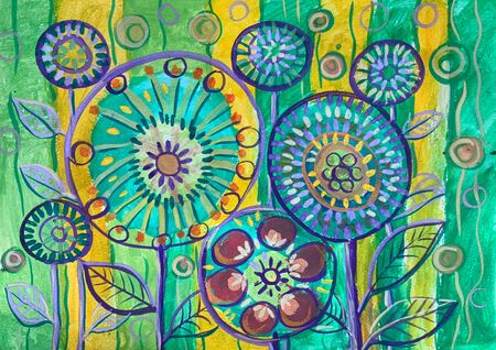 Beautiful doodle flower on watercolor background. Childrens drawing.