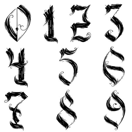 vector set of calligraphic acrylic or ink numbers. Set of numbers for your design.