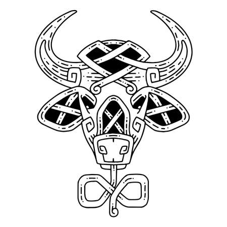 Bull in the Celtic style. The symbol of the new year.
