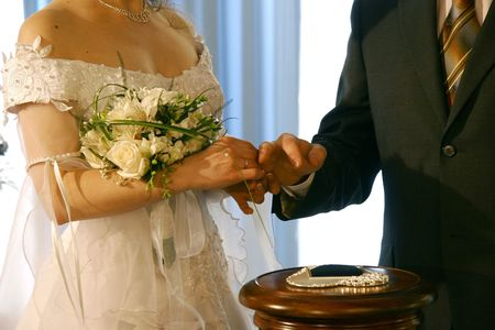 ceremony with wedding rings photo