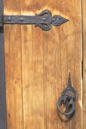 close up of old wooden door photo