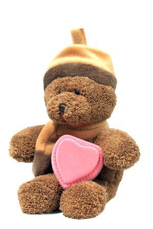 corazon rosa: oso de peluche con coraz�n rosa caja