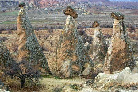 phallic: formaciones de piedra en el cappadocia, pavo