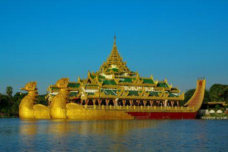 burmese: Karaweik palace in Yangon, Myanmar