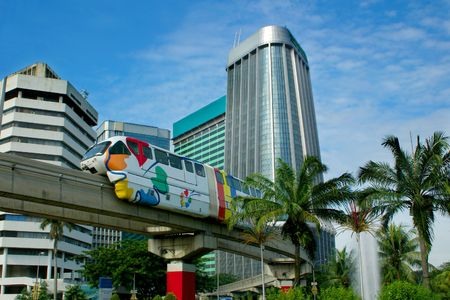 monorail on skyscrapers background Editorial