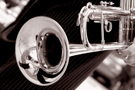 acoustics: black and white trumpet close up Stock Photo
