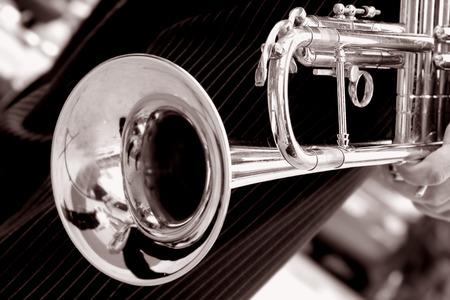 trompeta: en blanco y negro de cerca de trompeta