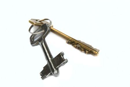 homebuyer: door keys over white, shallow DOF