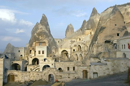 caverns: cave city in Cappadocia Stock Photo