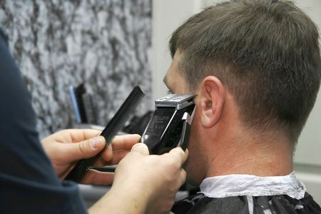 male barber at work Stock Photo