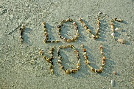"""""""te quiero"""" en la playa de arena  Foto de archivo - 2335107"""