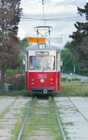 close up of an old tram