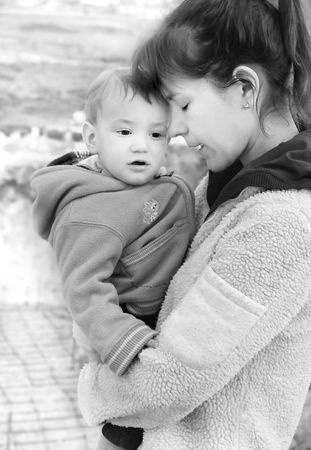 mother and son outdoor portrait Stock Photo
