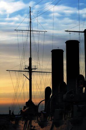 silhouette of Russian cruiser Aurora. Saint-Petersburg photo