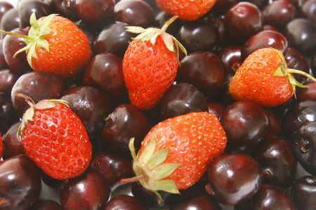 cherry and strawberry background Stock Photo - 3170715
