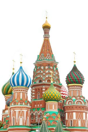 kreml: st basil cathedral over white, moscow, russia
