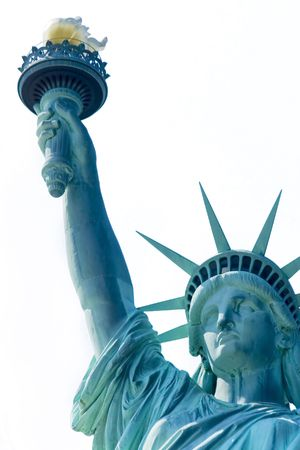close up of Statue of Liberty over white Stock Photo