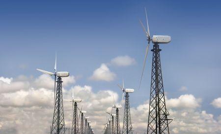 groep van windturbines over hemel achtergrond