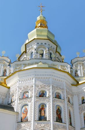 orthodox church over blue sky background photo
