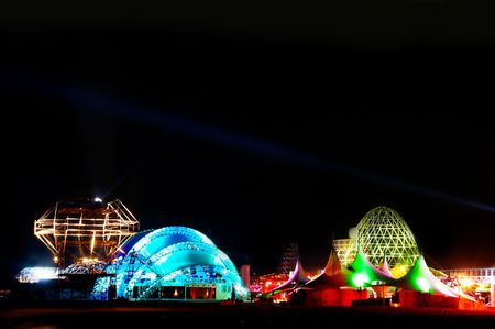 tent city: city of the future at night