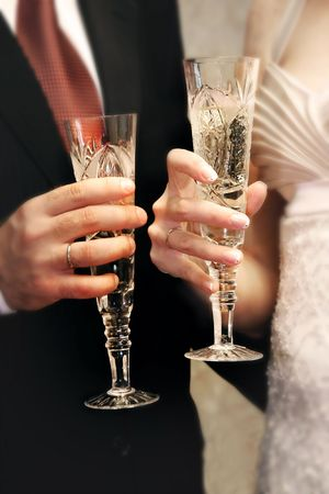 champaign: just married couple with glasses of champaign