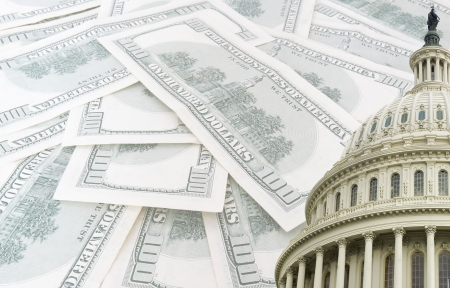 us capitol on 100 us dollars banknotes background Stock Photo
