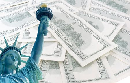 statue of liberty on 100 us dollars banknotes background Stock Photo