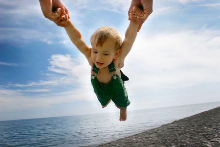 flying  on sky background photo