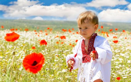 boy in traditional clothes in flowers photo