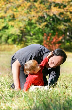 foster parenting: father and son outdoor Stock Photo